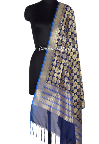 Navy Blue Art Silk Banarasi Dupatta with floral motifs inside geomatrical shapes (1) Main