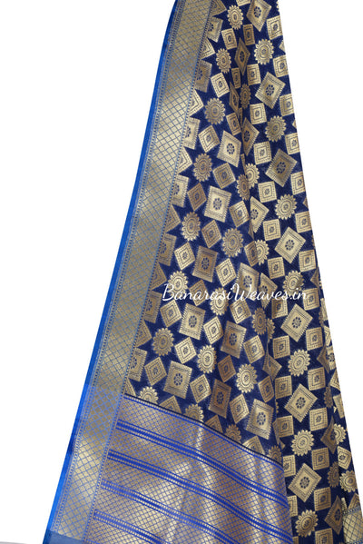 Navy Blue Art Silk Banarasi Dupatta with floral motifs inside geomatrical shapes (2) Close up