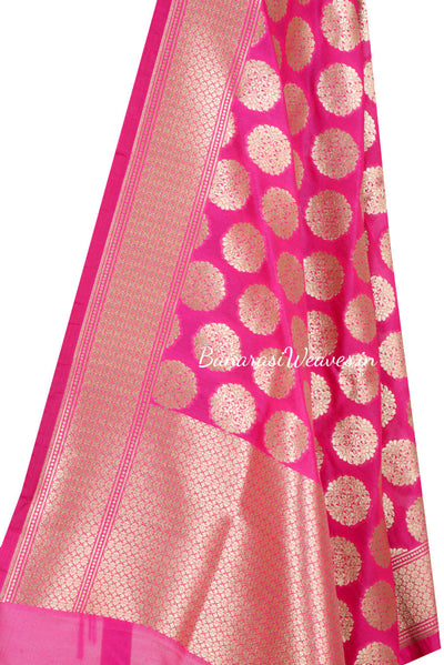 Magenta Art Silk Banarasi Dupatta with Artistic oval motifs (2) Close up