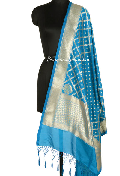 Cobalt blue Art Silk Dupatta with mini floral motif and grid pattern (1) Main