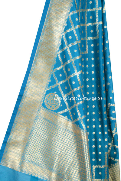Cobalt blue Art Silk Dupatta with mini floral motif and grid pattern (2) Close up