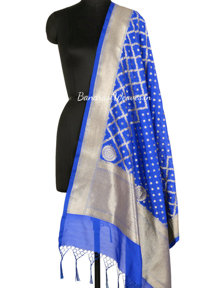 Royal Blue Art Silk Dupatta with mini floral motif and grid pattern (1) Main
