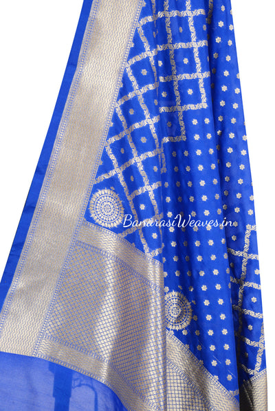 Royal Blue Art Silk Dupatta with mini floral motif and grid pattern (2) Close up
