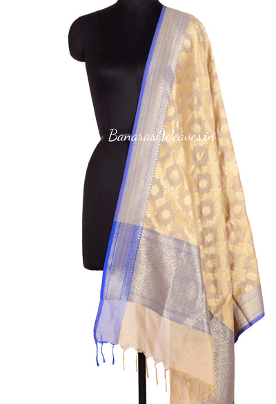 Cream Art Silk Banarasi Dupatta with floral jaal inside flower motif (1) Main