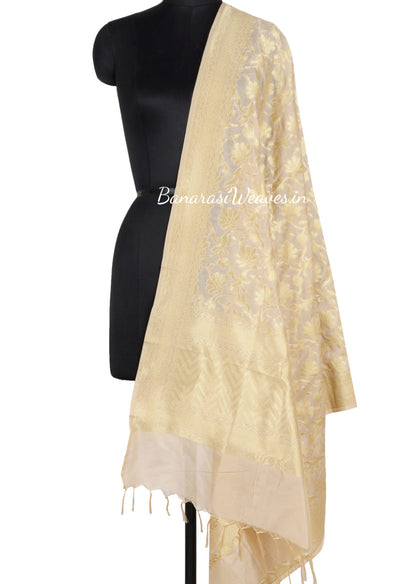 Cream Banarasi Dupatta with big tulip flower jaal (1) Main