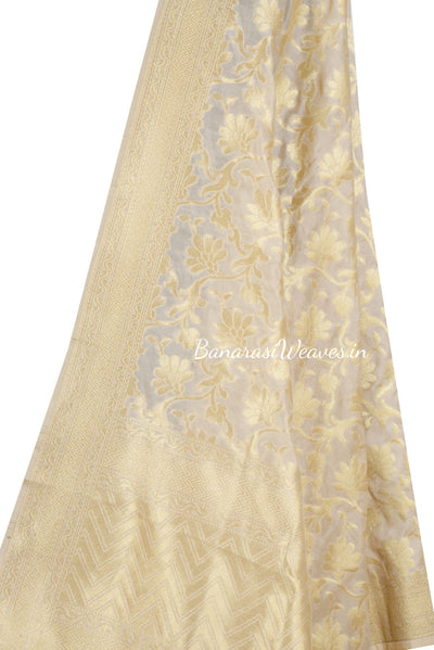 Cream Banarasi Dupatta with big tulip flower jaal (2) Close up