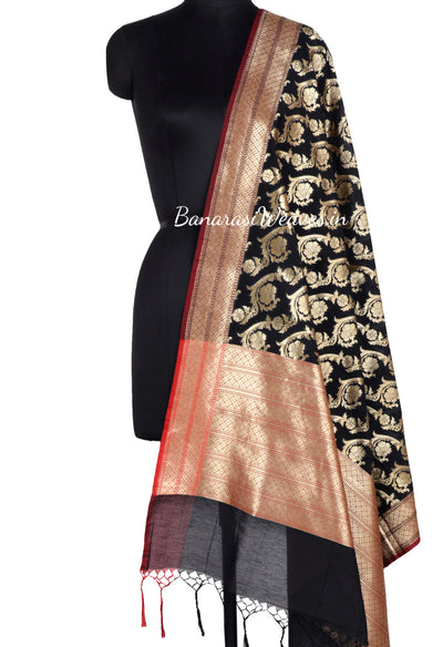 Black Art Silk Dupatta with Floral jaal and brown edge (1) Main