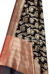 Black Art Silk Dupatta with Floral jaal and brown edge (2) close up