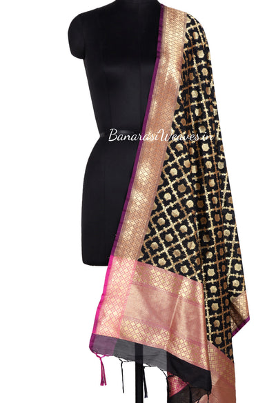 Black Art Silk Banarasi Dupatta with floral motifs in grid pattern jaal (1) Main
