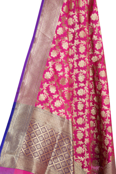Pink Art Silk Banarasi dupatta with flower jaal and purple edge (2) Close up