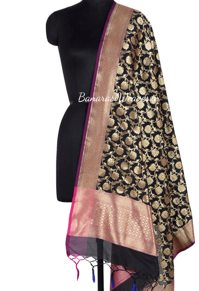 Black Art Silk Banarasi dupatta with flower jaal (1) Main