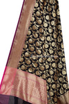 Black Art Silk Banarasi dupatta with flower jaal (2) Close up