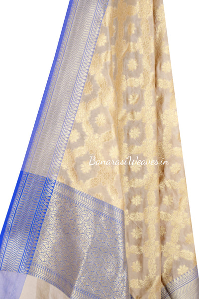 Cream Art Silk Banarasi Dupatta with floral jaal inside flower motif (2) Close up