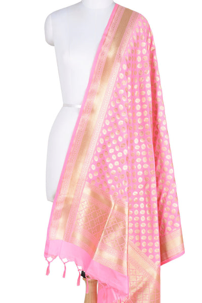 Baby Pink Banarasi Dupatta with fiery circle motifs (1) Main