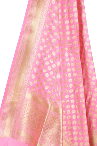 Baby Pink Banarasi Dupatta with fiery circle motifs (2) Close up