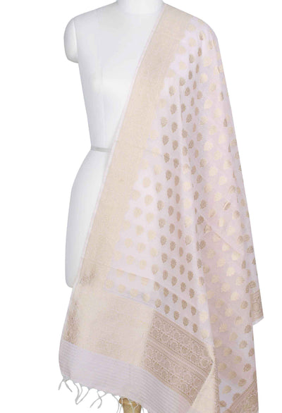 Baby Pink Silk Cotton Banarasi Dupatta with lotus booti