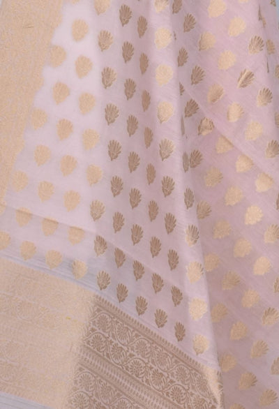 Baby Pink Silk Cotton Banarasi Dupatta with lotus booti (2) Close up