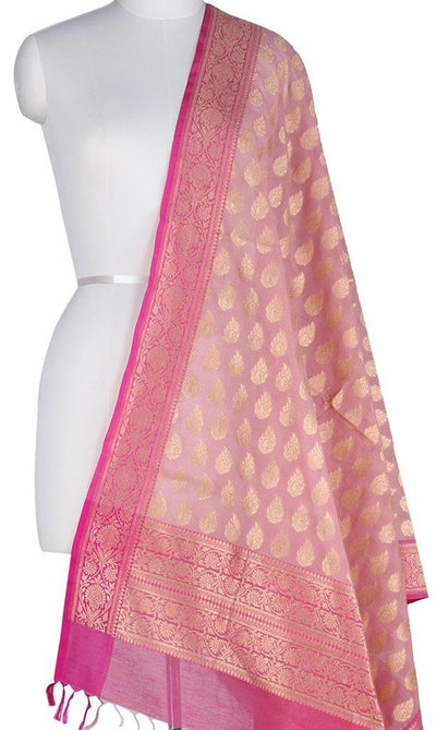 Baby Pink Silk Cotton Banarasi Dupatta with stylized paisley motifs Main Image