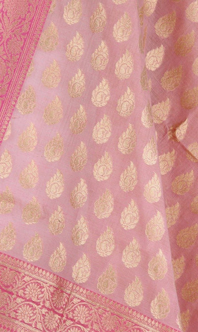 Baby Pink Silk Cotton Banarasi Dupatta with stylized paisley motifs Close up Image