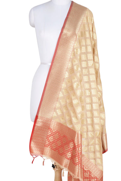 Beige Banarasi Dupatta with drop motifs arranged in diamond pattern (1) Main