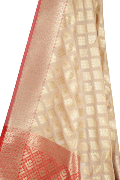 Beige Banarasi Dupatta with drop motifs arranged in diamond pattern (2) Close up