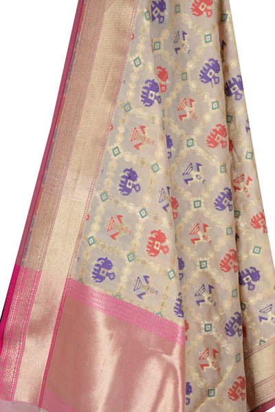 Beige Banarasi Dupatta with patan patola design (2) Close up