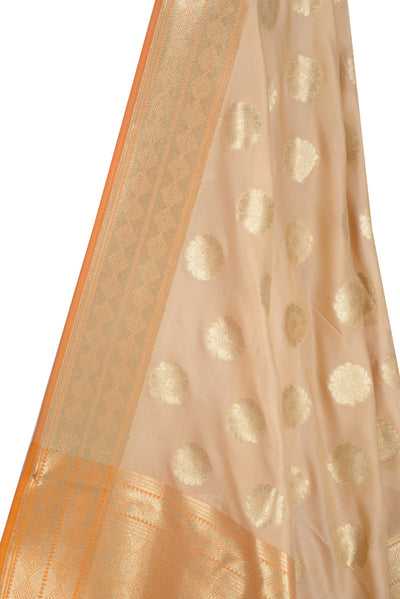 Beige Banarasi Dupatta with pleasant flower motifs (2) Close up