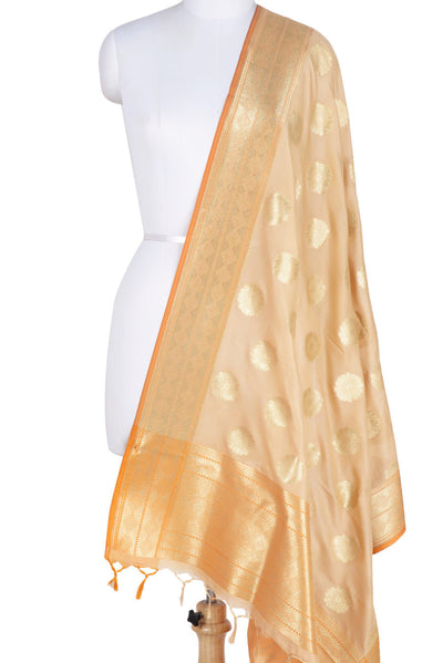 Beige Banarasi Dupatta with pleasant flower motifs (2) Main