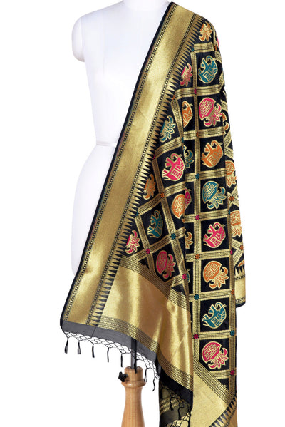 Black Banarasi Dupatta with big patan patola design (1) Main