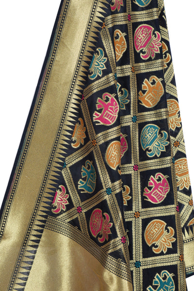 Black Banarasi Dupatta with big patan patola design (2) Close up
