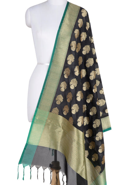 Black Banarasi Dupatta with flower inside vase motifs (1) Main