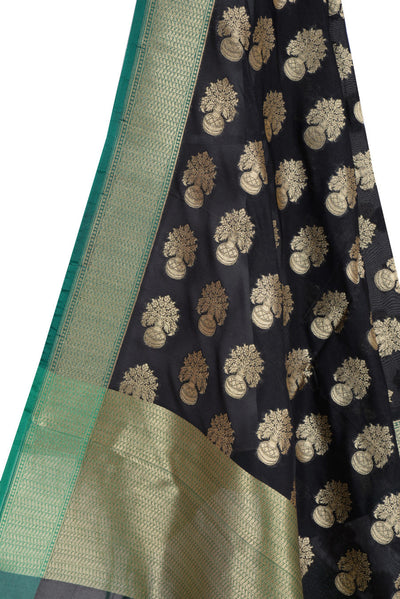 Black Banarasi Dupatta with flower inside vase motifs (2) Close up