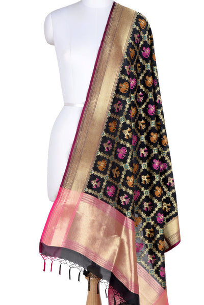 Black Banarasi Dupatta with patan patola design (1) Main