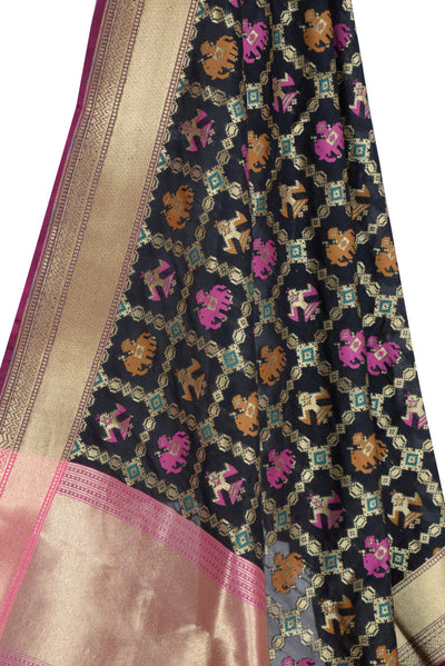 Black Banarasi Dupatta with patan patola design (2) Close up
