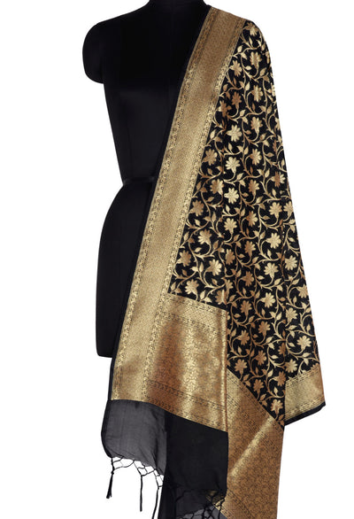 Black Banarasi Dupatta with tulip flower jaal (1) Main