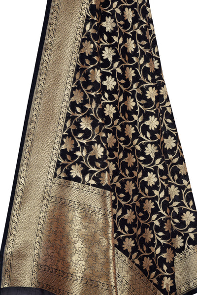 Black Banarasi Dupatta with tulip flower jaal (2) Close up