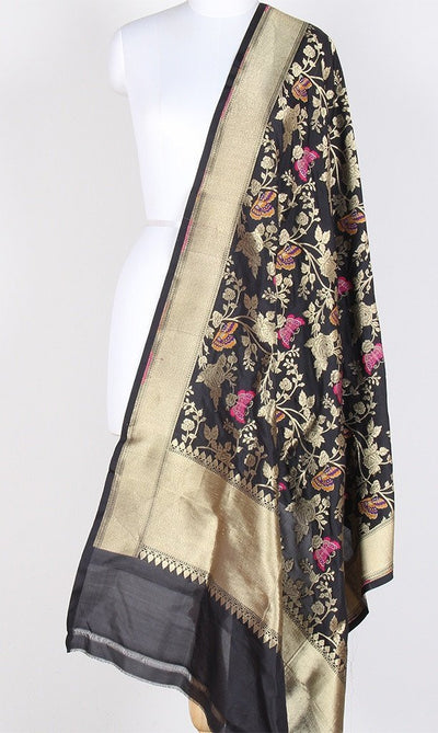 Black Katan Silk Hanwoven Banarasi Dupatta with flower and butterfly jaal PCRVDKS03BY03 (1) Main