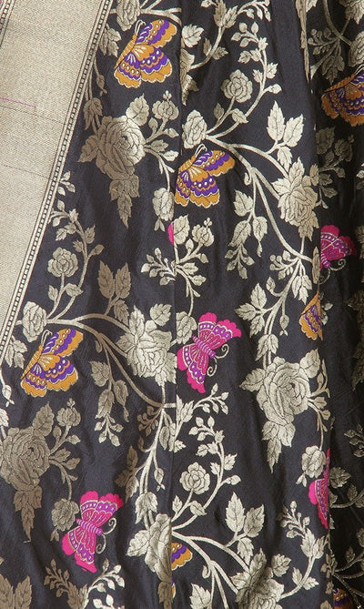 Black Katan Silk Hanwoven Banarasi Dupatta with flower and butterfly jaal PCRVDKS03BY03 (2) Close up