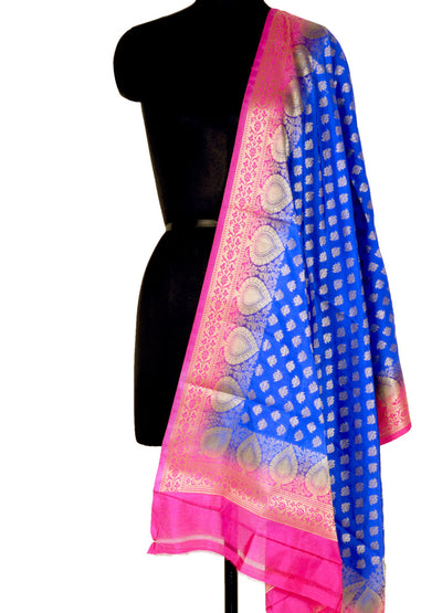 Blue Art Silk Banarasi Dupatta with mini lotus motifs and leaf border (1) Main
