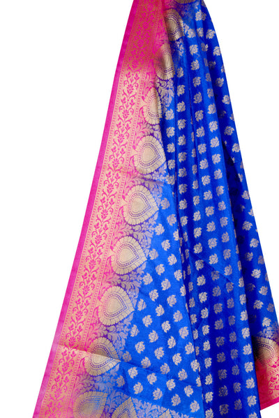 Blue Art Silk Banarasi Dupatta with mini lotus motifs and leaf border (2) Close up