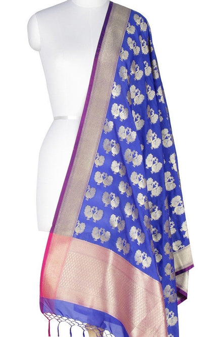 Blue Art Silk Banarasi Dupatta with peacock motifs Main Image