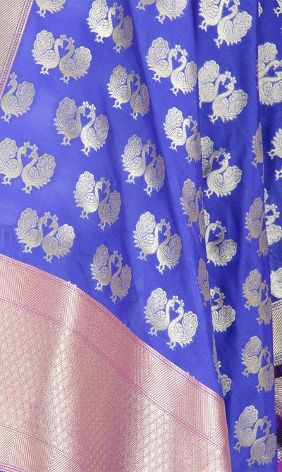 Blue Art Silk Banarasi Dupatta with peacock motifs Close up Image
