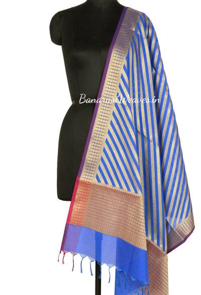 Blue Art Silk Banarasi dupatta with diagonal stripe of gold zari (1) Main