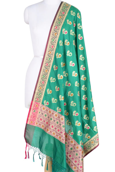 Bottle Green Banarasi Dupatta with multi color peacock motifs (1) Main