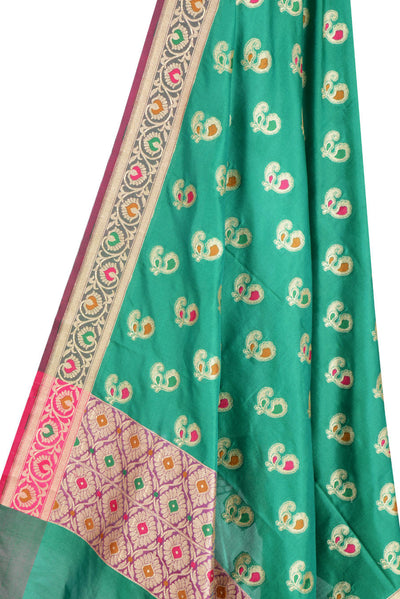 Bottle Green Banarasi Dupatta with multi color peacock motifs (2) Close up