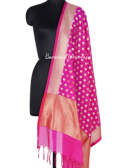 Bubblegum Pink Art Silk Banarasi dupatta with flower bud motifs (1) Main