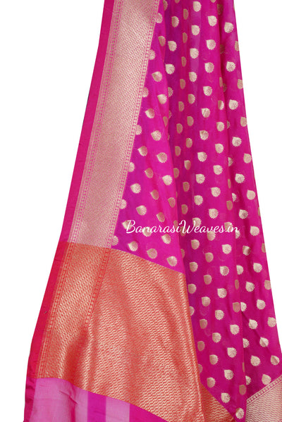 Bubblegum Pink Art Silk Banarasi dupatta with flower bud motifs (2) Close up