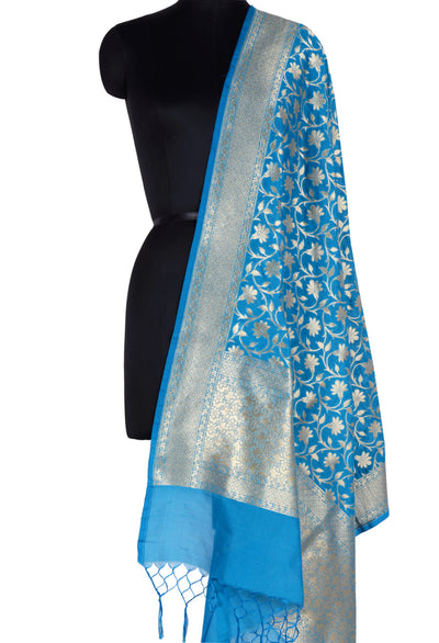 Cobalt Blue Banarasi Dupatta with tulip flower jaal (1) Main