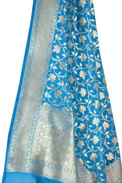 Cobalt Blue Banarasi Dupatta with tulip flower jaal (2) Close up