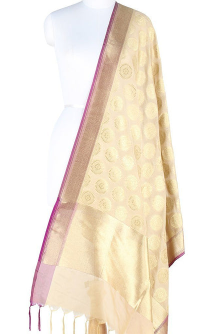 Cream Art Silk Banarasi Dupatta with aesthetic sun motifs PCJB01N116 (1) Main